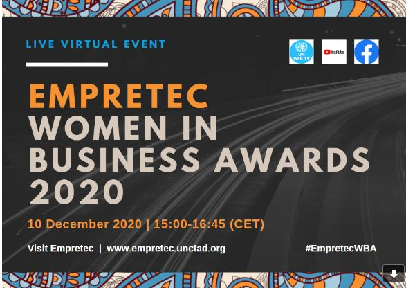 UNCTAD'S Empretec Women in Business Award 2020 to be held on December 10,2020