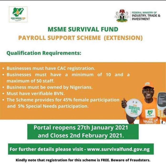 Federal Government Extends Registration for MSME Survival Fund Payroll Support Scheme for 5 days