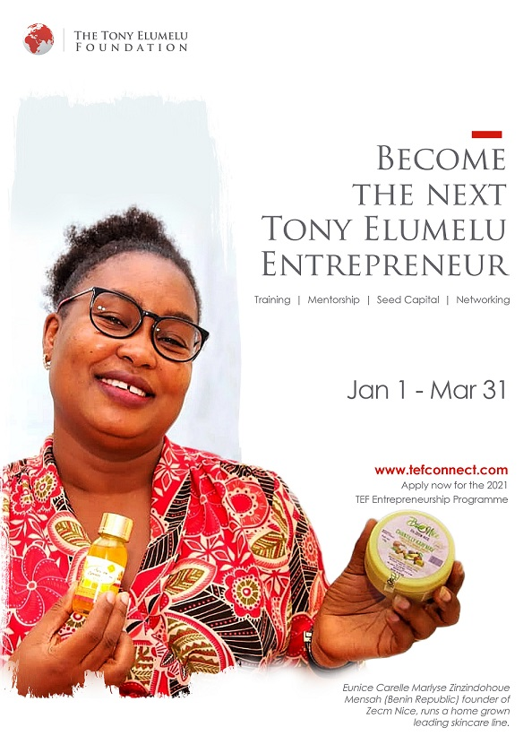 Application deadline for the Tony Elumelu Foundation Entrepreneurship Programme is March 31