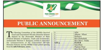 MSME Survival Fund Guaranteed Offtake Stimulus Scheme and General MSME Grant to Kick off Monday February 9,2021