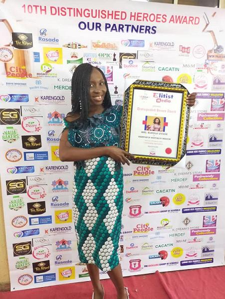 Bukola Uviase Honoured as Champion of Hospitality Industry at 10th Distinguished Heroes Award