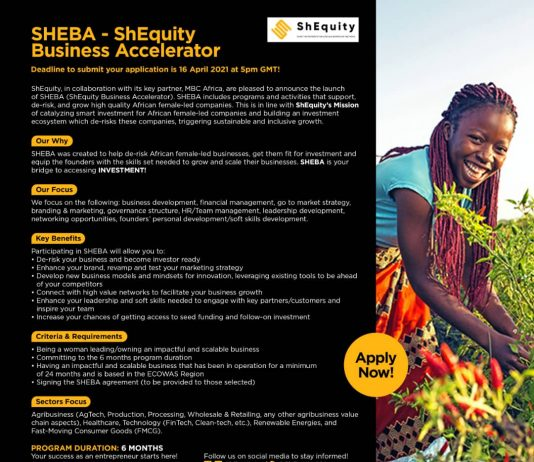 SHEBA -ShEquity Business Accelerator for African Female-led Businesses