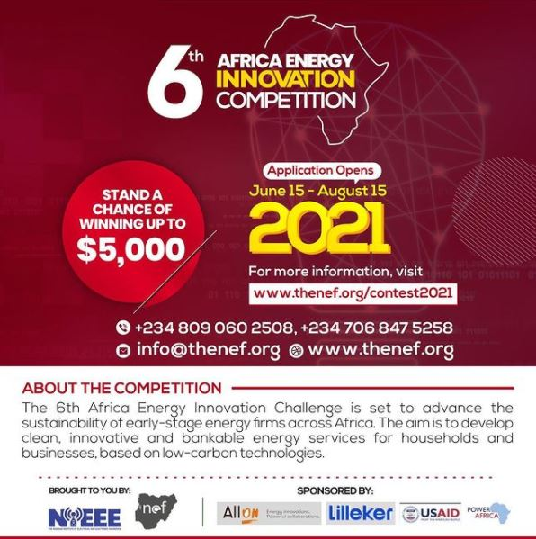 Call for Application: 6th Africa Energy Innovation Competition ($5,000)